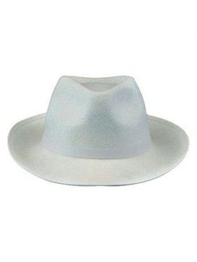 Deluxe Felt Gangster Hat White