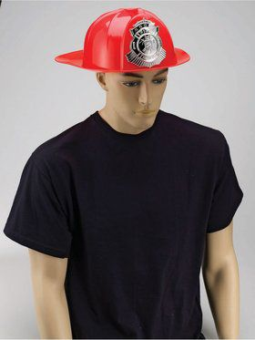 Deluxe Adult Fireman's Helmet Red
