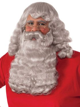 Deluxe Greyish White Santa Wig and Beard