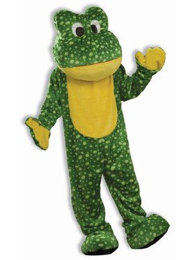 Plus Size Deluxe Plush Frog Mascot Costume For Adults