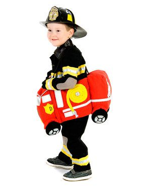 Deluxe Plush Ride In Firetruck Costume Toddler