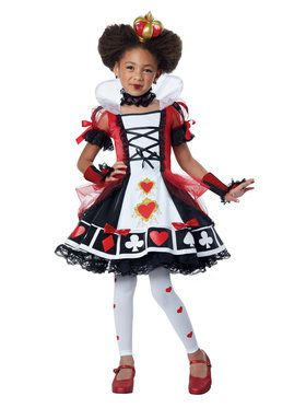 Deluxe Queen Of Hearts Girl's Costume