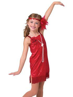 Deluxe Red Flapper Sequin Dot Velvet Dress Child Costume