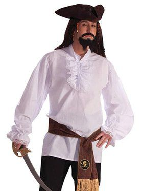 Deluxe Ruffled Cotton Shirt with Lace Trim Adult Costume