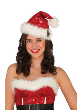 Deluxe Sequin Santa Hat - Red