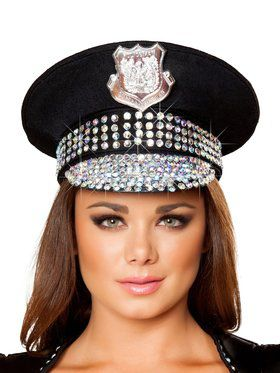 Deluxe Studded Police Hat Adult