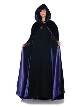 Deluxe Velvet and Purple Satin Cape for Women