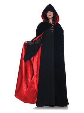 Deluxe Velvet and Red Satin Cape for Women