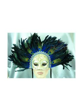 Deluxe Venetian Style Masquerade Mask with Feathers