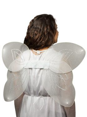 Deluxe White and Silver Angel Wings