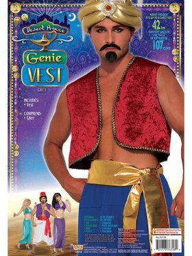 Desert Prince Red Genie Vest Adult Costume