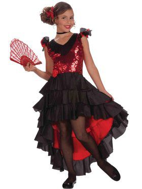 Designer Spanish Dancer Girl's Costume