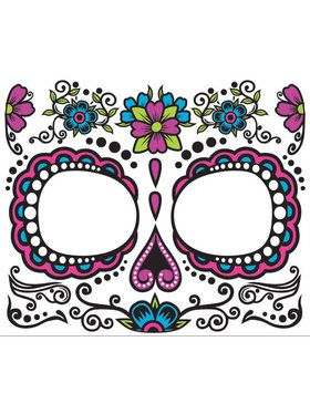 Dia de Muertos Skull Women's Face Tattoo