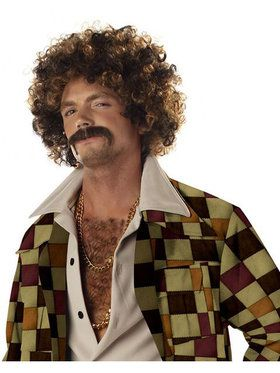 Disco Dirtbag Blonde and Brown Wig and Mustache Adult