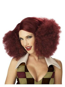 Disco Sensations Burgundy Wig Adult