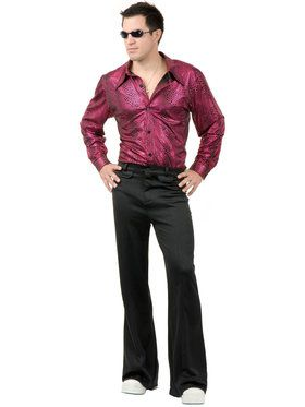 Disco Shirt - Liquid Red Black Adult Costume