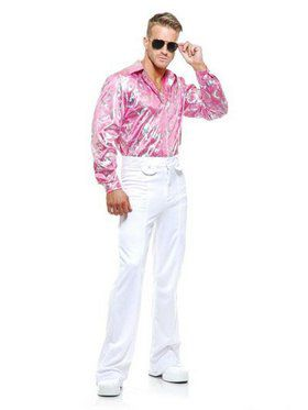 Plus Men's Pink Disco Shirt