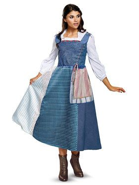 Adult Disneyu0027s Beauty And The Beast Live Action Belle Village Dress Costume  Deluxe For Adults