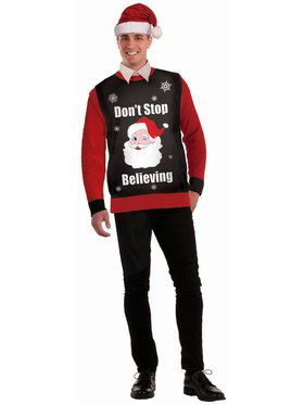 Don't Stop Believing Christmas Sweater Costume Top