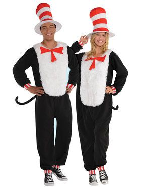 Cat In The Hat - Jumpsuit - Adult Costume
