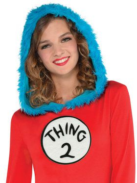 Cat In The Hat - Thing 1 And 2 Hooded Long-Sleeved Dress - Adult Accessory