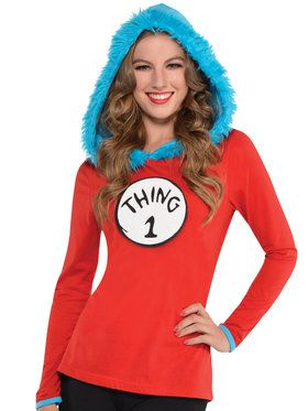 Cat In The Hat - Thing 1 And 2 Hooded Long-Sleeved Shirt - Adult Accessory
