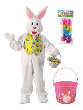 Easter Bunny Mascot Costume Kit With Easter Bucket And Eggs - Plus