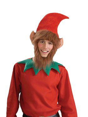 Elf Hat with Ears, Hair and Beard Costume