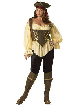 Elite Rustic Pirate Lady Adult Plus Costume