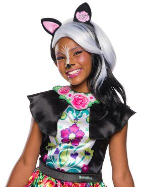 Girls Sage Skunk Striped Wig and Ears