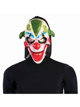 Evil Clown Adult Mask Green Hair