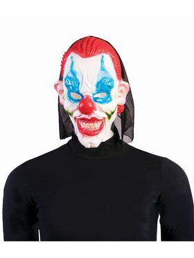 Evil Clown Adult Mask Red Hair