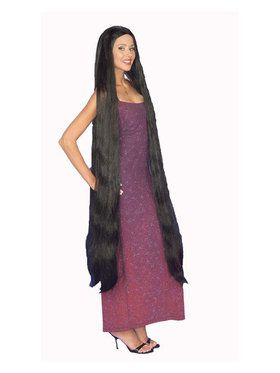Extra Long Godiva Black Wig Adult