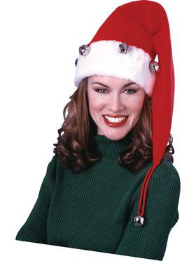 Extra Long Santa Hat with Bells Accessory