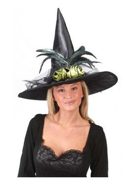 Fancy Feather Black Witch Hat