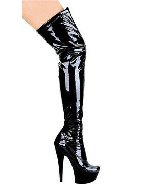 Fantasy Black Thigh High Boots Adult