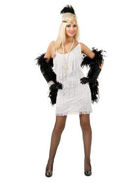 Women's White Fashion Flapper Costume