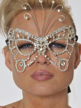 Faux Clear Gemstone Butterfly Mask