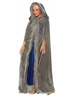 Faux Fur Trimmed Cape Grey Accessory