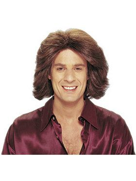 Feathered 1970's Male Wig Brown Adult