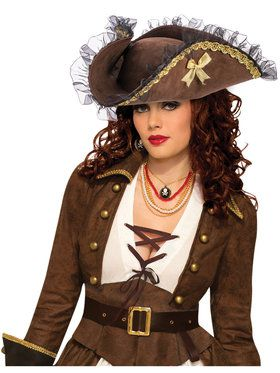 Fancy Brown Tricorn Pirate Hat