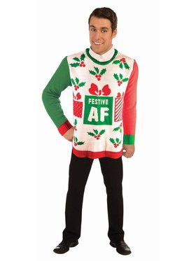 Festive AF Christmas Sweater Costume Top