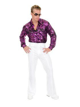 Plus Men's Flame Hologram Disco Shirt