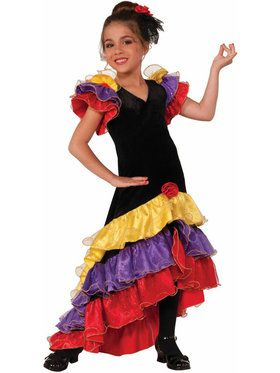 Flamenco Dancer Girl's Costume