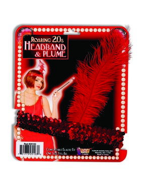 Red Flapper Headband with Red Feather Accessory