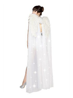 Floor Length White Angel Wings with Rhinestones