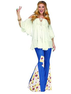 Flower Power Bell Bottoms Women's Costume