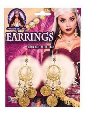 Fortune Teller Coin Earrings Gold Accessory