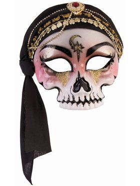 Fortune Teller Half Mask Skull With Black Scarf Accessory