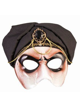 Fortune Teller Half Mask With Black Scarf Male Accessory
